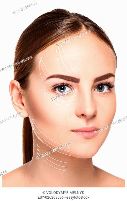 The young female with clean fresh skin, antiaging and lifting concept