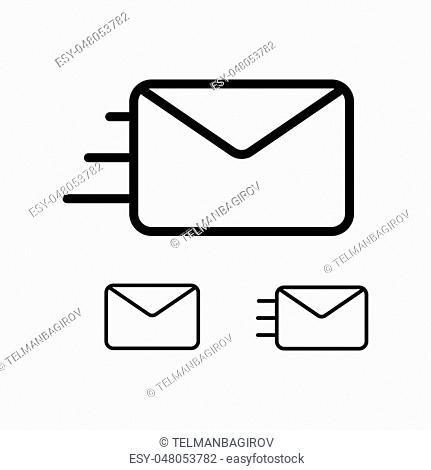 thin line envelope icons on white background