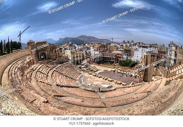 HDR Fisheye of The Roman Theatre of Carthago Nova and Cathedral ruins of Cartagena in the region of Murcia, Spain