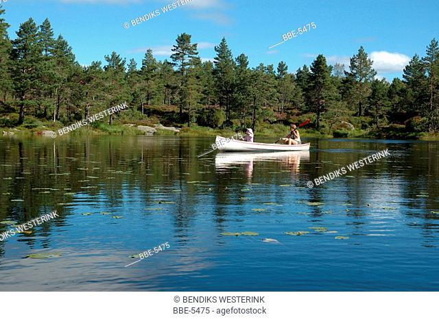 Canoeing on a Norwegian lake