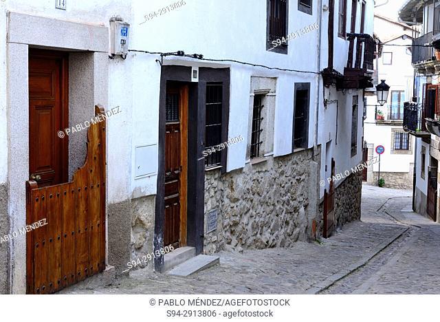 Rustic street of Candelario, Salamanca, Spain