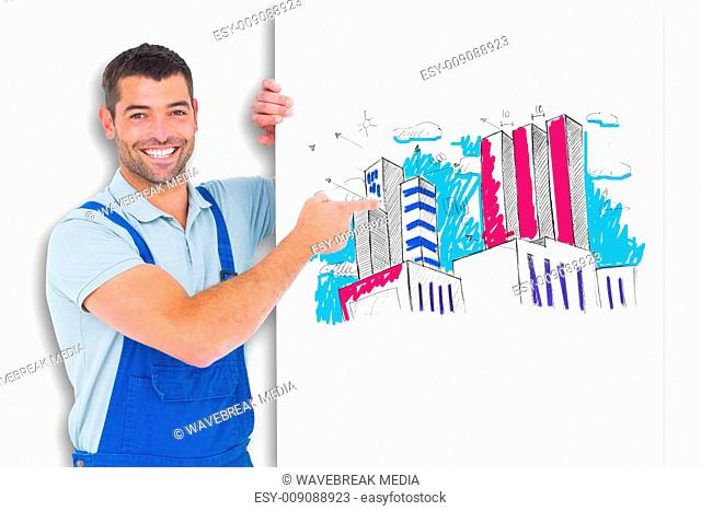 Composite image of repairman in overalls pointing at placard