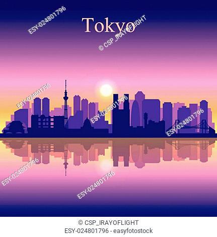 Tokyo city skyline silhouette background