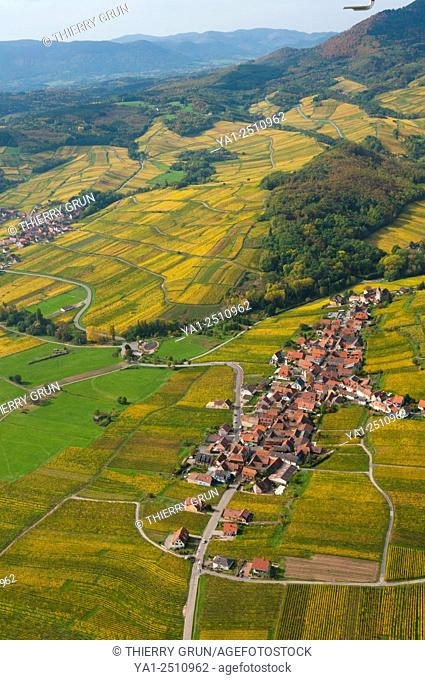 France, Bas Rhin 67, Wines road, village of Itterswiller aerial view