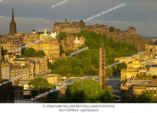 EDINBURGH, SCOTLAND, UK - JUNE 16, 2018: Dawn view from Calton Hill of the Old Town of Edinburgh Scotland UK with Edinburgh Castle prominent in the background