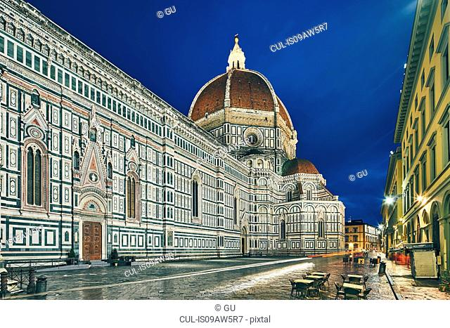 View of Florence Cathedral at night, Florence, Italy