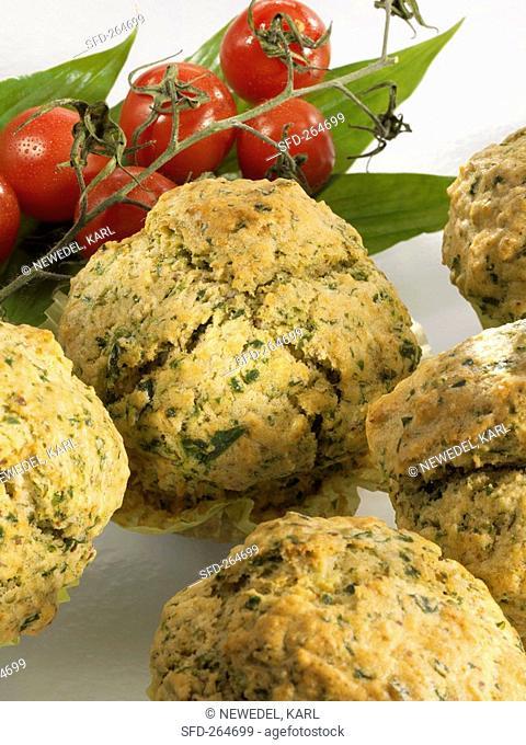 Ramsons wild garlic muffins