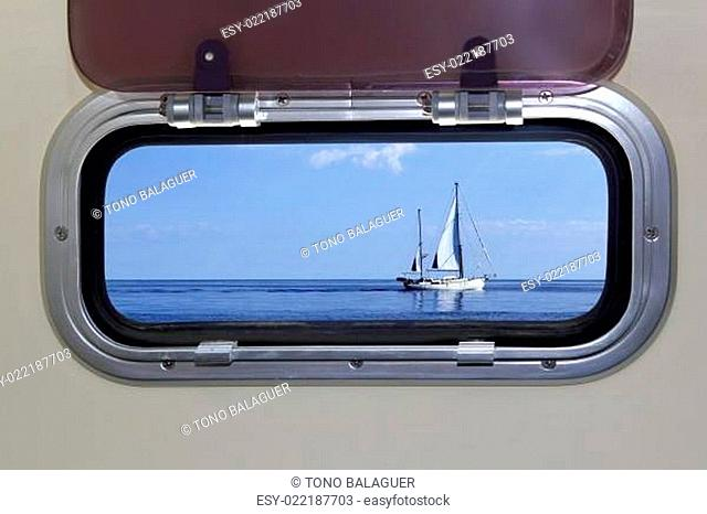 Boat porthole sailboat view blue ocean sea
