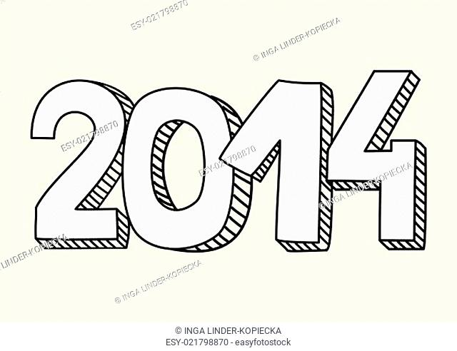 New Year 2014 hand drawn doodle sign or number symbol draft with white and black