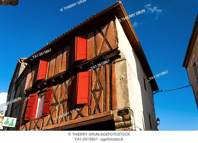 France, Gers (32), Town of Condom, half-timbered house, Charron street