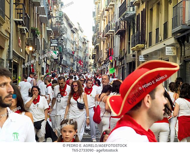 Navarra (Pamplona) .- 2016 San Fermin festival of international tourist interest. Thousands of people from around the world visit Pamplona during the most...