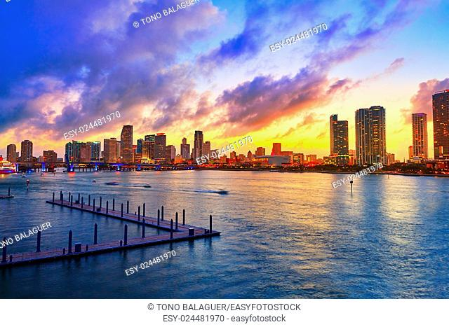 Miami downtown skyline sunset in Florida USA