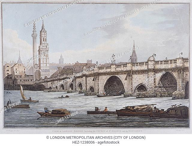View of London Bridge, including St Magnus the Martyr and the Monument, London, 1790; with vessels on the River Thames