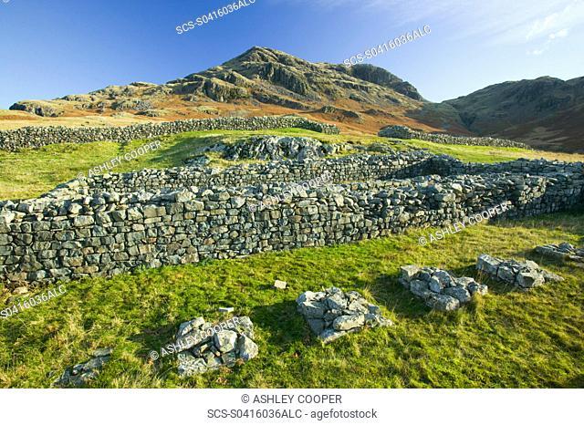 Hardknott Roman Fort on Hardknott Pass in the Lake District UK