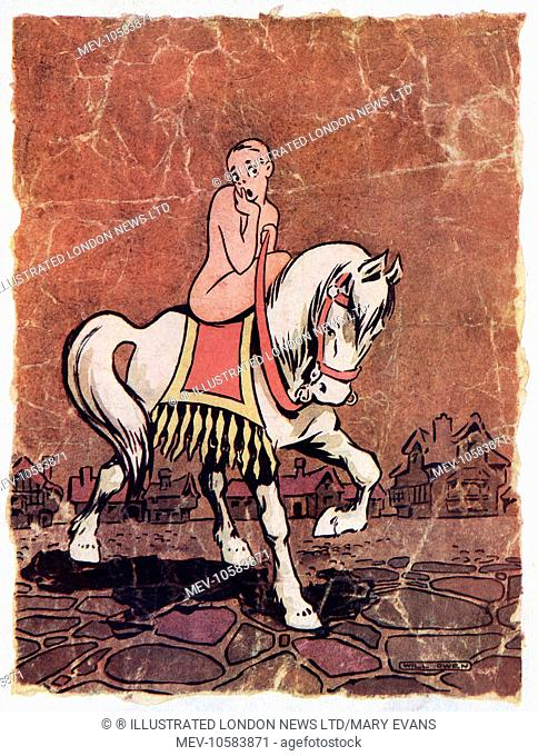 Humorous illustration, the first in a series called Hushed Up History showing Lady Godiva, who famously rode naked through the city of Coventry with only her...