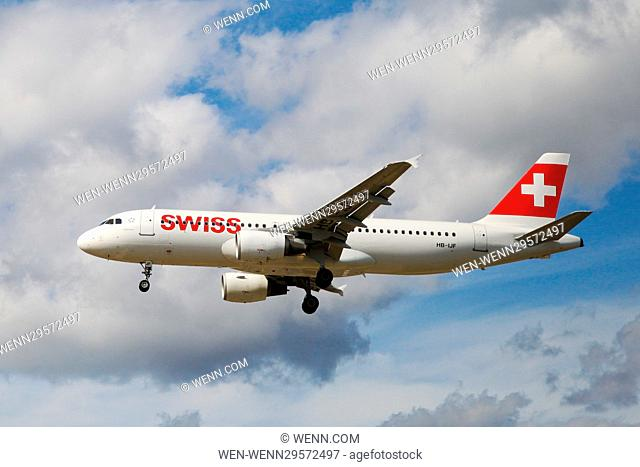 Aircrafts taking off and landing at Heathrow Airport Featuring: Swiss Airbus A320-214 - 13 Aug 2016 Where: London, United Kingdom When: 13 Aug 2016 Credit: WENN