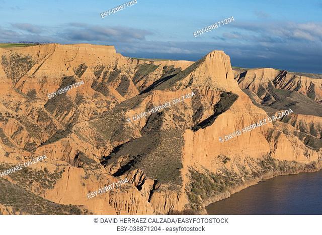 Barrancas de Burujon. Eroded landscape in ntarural park in Toledo, Castilla la Mancha, Spain
