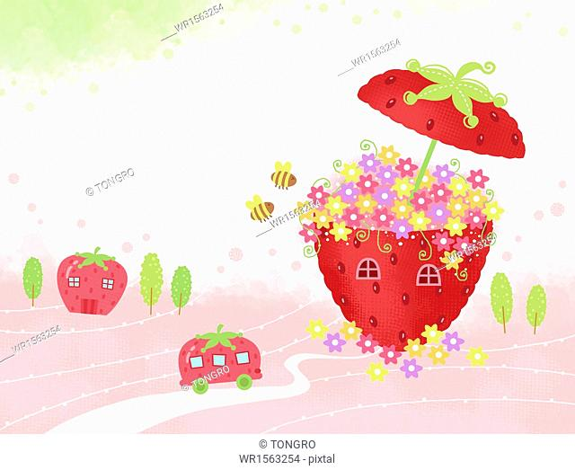a strawberry shape house full of flowers