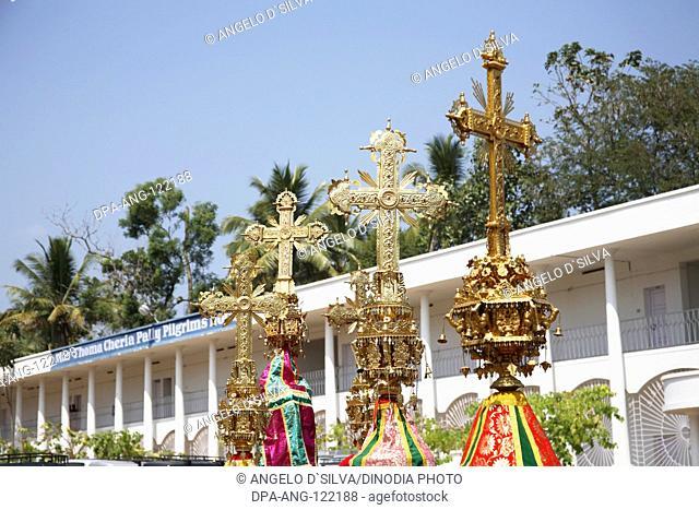 Syrian Christian procession with decorative crosses near Marthoman Cheriyapally ; St Thomas Church at Kohamangalam ; Enakulam ; Kerala ; India