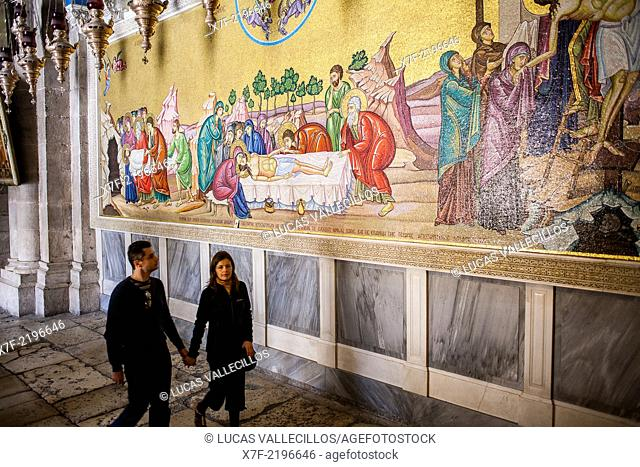 Tourists,Mosaic artwork of the death of Jesus Christ, Church of the Holy Sepulchre also called the Church of the Resurrection, Christian Quarter,Old City