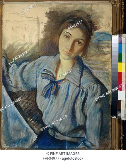 Self-Portrait at work by Serebriakova, Zinaida Yevgenievna (1884-1967)/Pastel on paper/Russian Painting, End of 19th - Early 20th cen