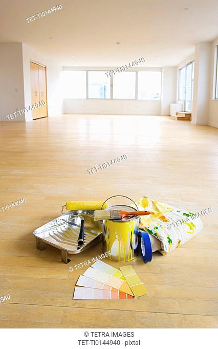Home improvement equipment in empty apartment