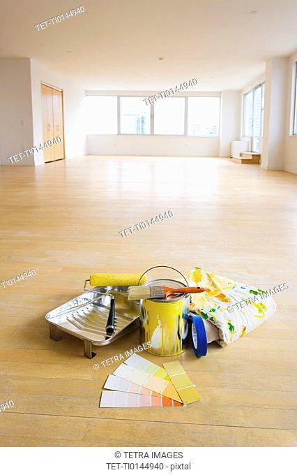 Home improvement equipment in empty apartment