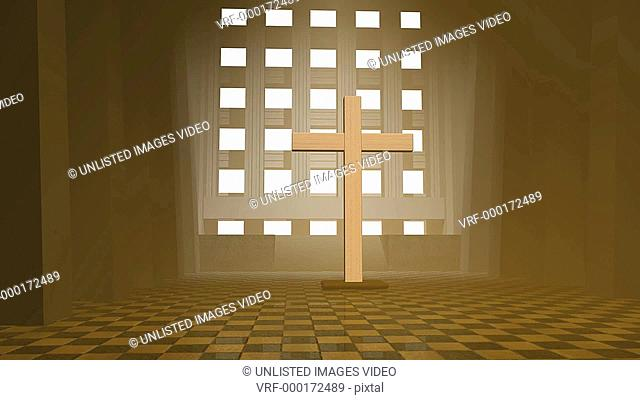 Cross in front of window