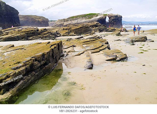 Beach of the Cathedrals Natural Monument at Ribadeo municipality, Lugo province, Galicia, Spain, Europe