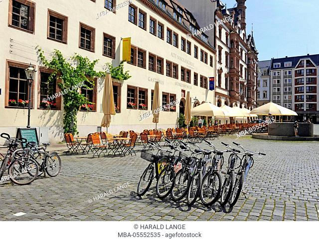 Leipzig, bycicle rental, for tourists, Nikolai churchyard, old Nikolai school, inn, antique museum, town exploration