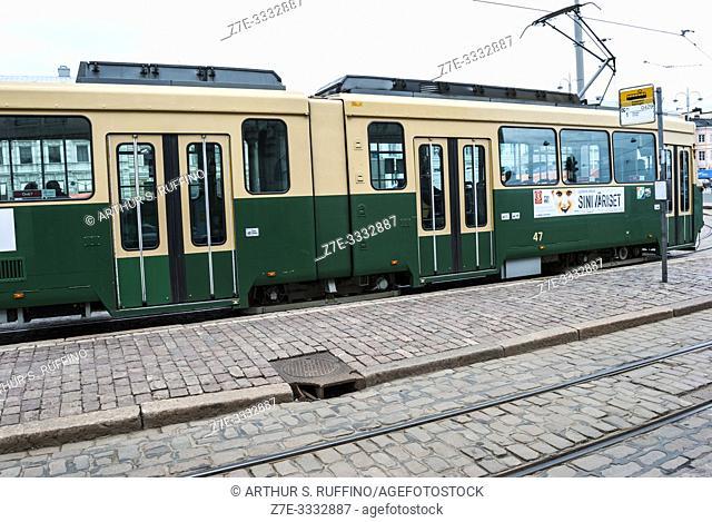 Helsinki Tram Service. Helsinki, Finland, Europe