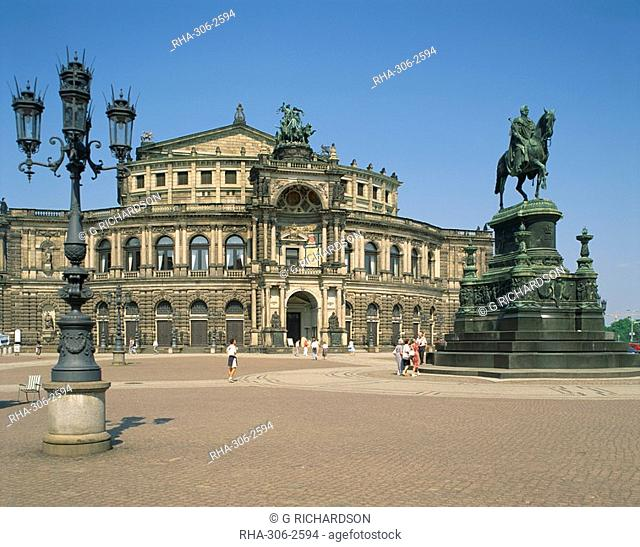 The Semper Opera House in the city of Dresden, Saxony, Germany, Europe