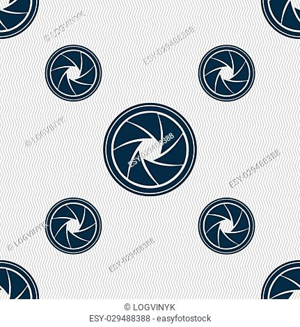 diaphragm icon. Aperture sign. Seamless pattern with geometric texture. illustration