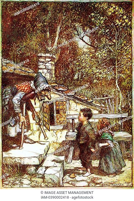 Hansel and Gretel and the Witch on the doorstep of her cottage, showing tiles made of gingerbread  Arthur Rackham illustration for Brothers Grimm fairy story...