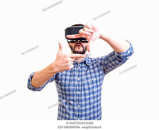Bearded man use virtual reality goggles