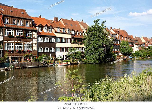 DEUTSCHLAND, BAMBERG, 17.06.2018, D-Bamberg, Regnitz, Main-Danube Canal, Upper Franconia, Franconia, Bavaria, Little Venice at the Regnitz, Klein-Venedig