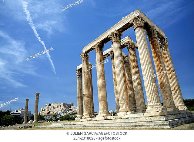 Temple of Olympian Zeus and the Acropolis in the background. Greece, Attica, Athens