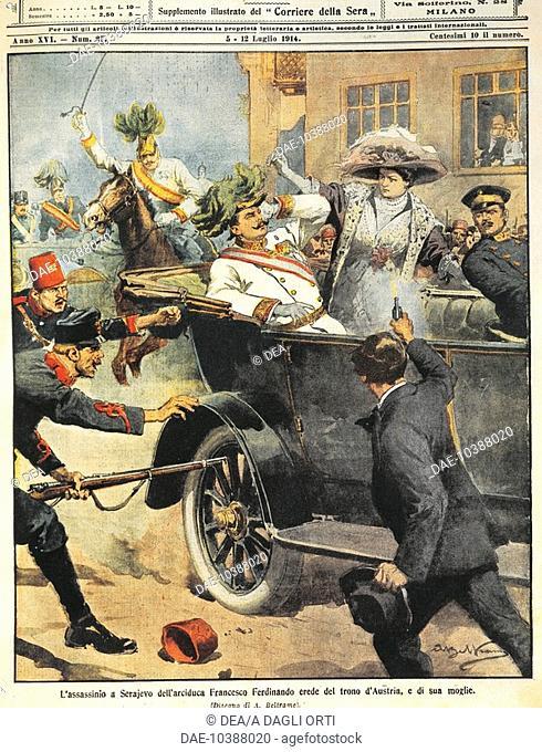 Bosnia - Sarajevo - July 5, 1914 - Murder of Archduke Franz Ferdinand (artwork from magazine cover), by Achille Beltrame (1871-1945)