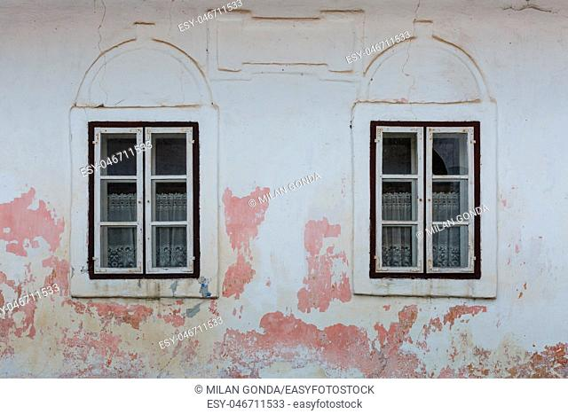 Windows of a traditional house in Haj village, northern Slovakia