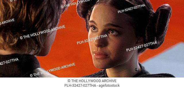 In the main Senate hallway, obscured by a pillar, Padme Amidala (actress Natalie Portman) shares a tender moment with her secret husband