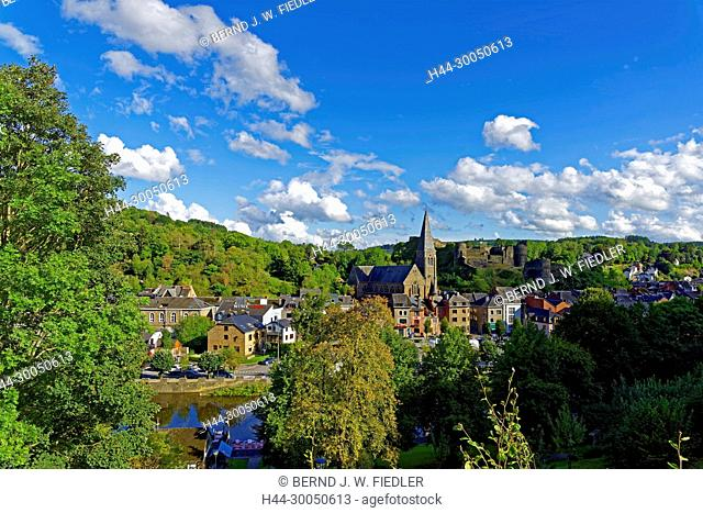 River, Ourthe, local view, church, fortress, La Smelling Roche-en-Ardenne Belgium