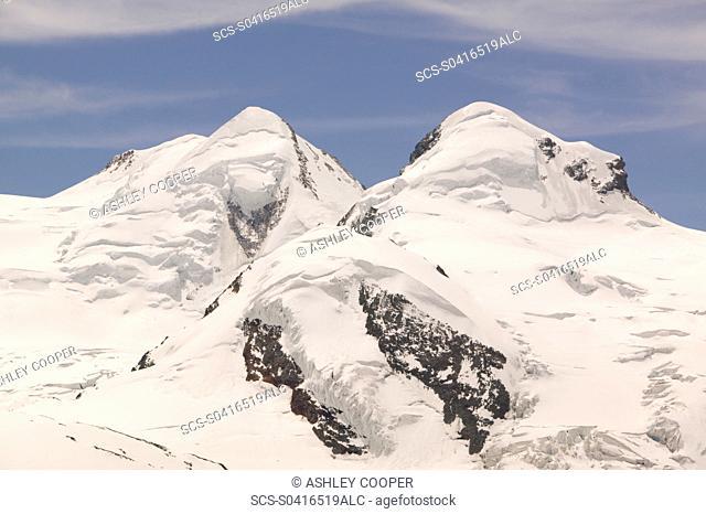 The twin peaks on Castor and Pollux above Zermatt Switzerland