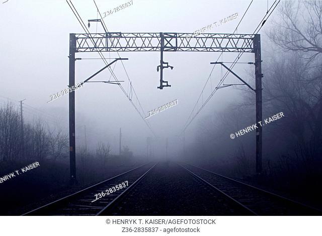 Train tracks at dark