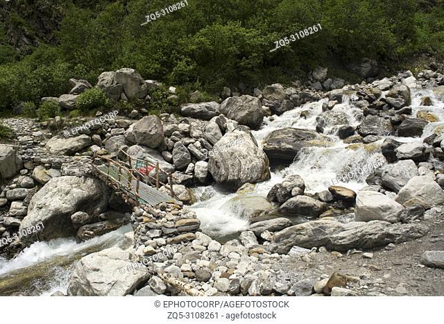 Small wooden bridge across a stream, Uttarakhand, India