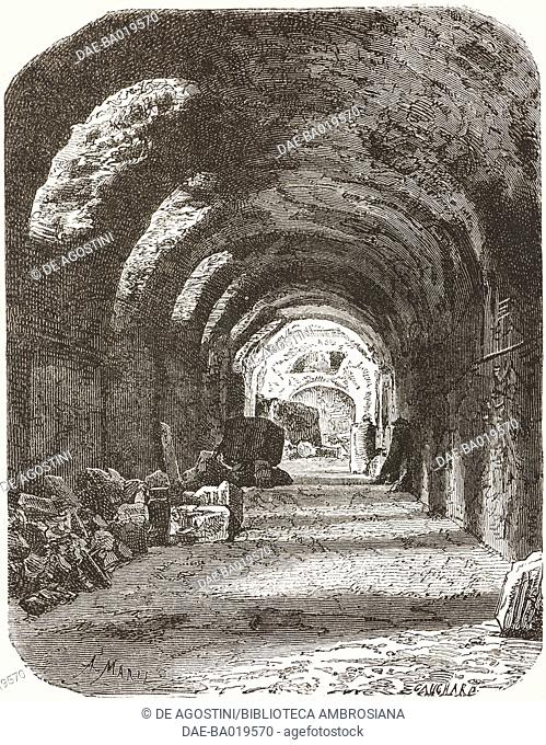 Underground corridor between the House of Tiberius (Domus Tiberiana) and the town hall, excavations of Palatine Hill, Rome, Italy