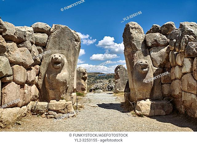 Picture & image of the Hittite lion sculpture of the Lion Gate. Hattusa (also Ḫattuša or Hattusas) late Anatolian Bronze Age capital of the Hittite Empire