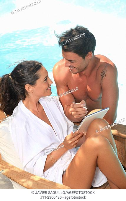 Couple by the pool