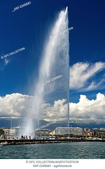 The giant fountain Jet d'eau in the Rade port area, Geneva, Switzerland