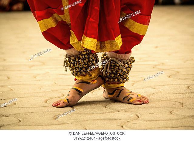 India, Dharamsala, Feet of performer at Dalai Lama Birthday