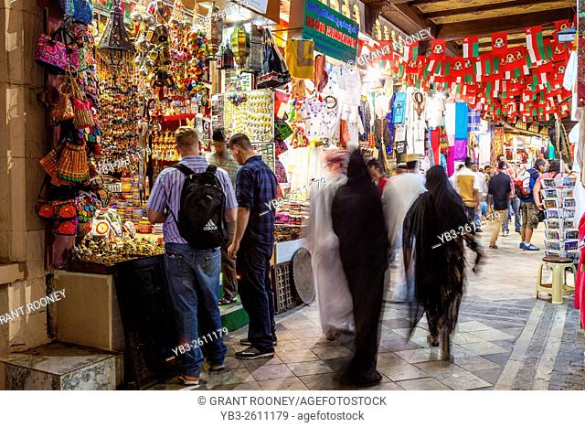 Tourists and Omani People Shopping At The Muttrah Souk (Al Dhalam), Muttrah, Muscat, Sultanate Of Oman